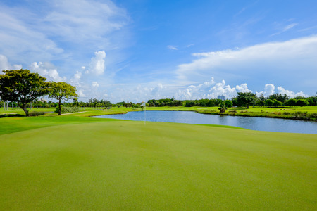 golf green: Golf course landscape viewed from the putting green  Stock Photo
