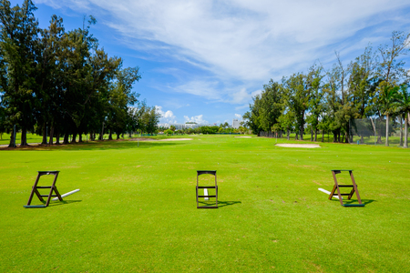 fairway: Golf course landscape viewed from the practice range. Stock Photo