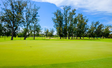 viewed from behind: Golf course landscape viewed from behind the putting green. Stock Photo