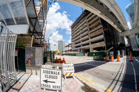 scheduled: MIAMI, FL USA - JUNE 21, 2014  The Brickell City Centre construction project underway in downtown Miami scheduled to be completed in 2016