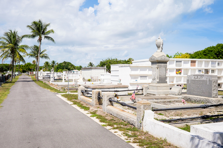 founded: KEY WEST, FLORIDA USA - JUNE 26, 2014: The Key West Cemetery in the Historic District was founded in 1847.