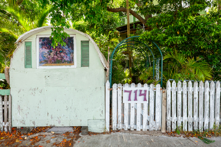 KEY WEST, FLORIDA USA - JUNE 26, 2014: A unique vintage home entrance in the residential Historic District of Key West.