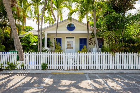 KEY WEST, FLORIDA USA - JUNE 26, 2014: A beautifully restored vintage home in the residential Historic District of Key West.