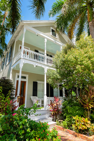 KEY WEST, FLORIDA USA - JUNE 26, 2014  A beautifully restored vintage home in the residential Historic District of Key West