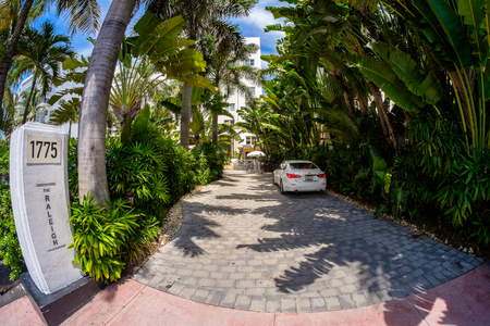 Miami Beach, Florida USA - August 1, 2014: Fish eye view of the entrance to the Raleigh Hotel in Miami Beach, a popular international travel destination.