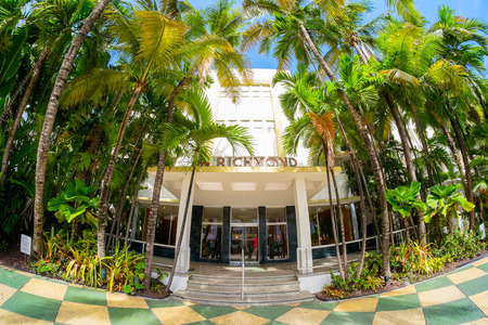 Miami Beach, Florida USA - August 1, 2014: The beautiful Richmond Hotel in Miami Beach, a popular international travel destination, fish eye view with palm trees and art deco architecture.