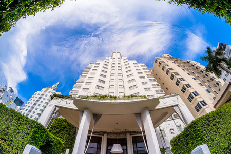 delano: Miami Beach, Florida USA - August 1, 2014: The beautiful Delano Hotel in Miami Beach, a popular international travel destination, fish eye view with iconic art deco architecture.