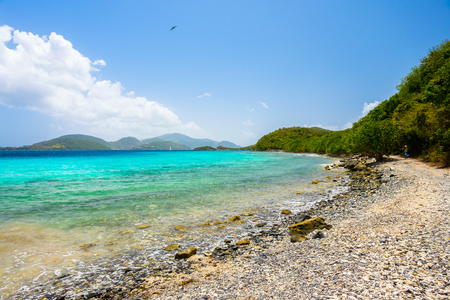 leinster: Beautiful pristine Caribbean beach in Saint John in the United States Virgin Islands. Stock Photo