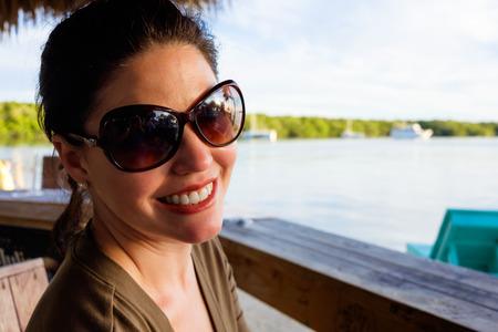 Beautiful woman outdoor portrait in the Florida Keys. photo