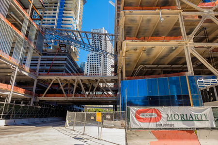 scheduled: Miami, Fl USA - January 28, 2015: The Brickell City Centre construction project underway in downtown Miami scheduled to be completed in 2016.