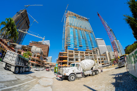 scheduled: Miami, Fl USA - January 28, 2015: Fish eye view of the Brickell City Centre construction project underway in downtown Miami scheduled to be completed in 2016.