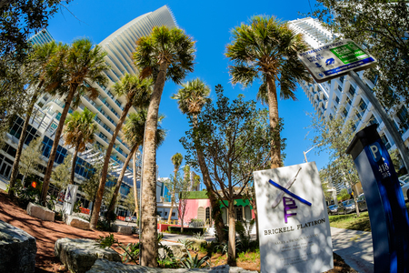 flatiron: Miami, Fl USA - January 28, 2015: Fish eye view of the Brickell Flatiron Sales and Construction site in downtown Miami.