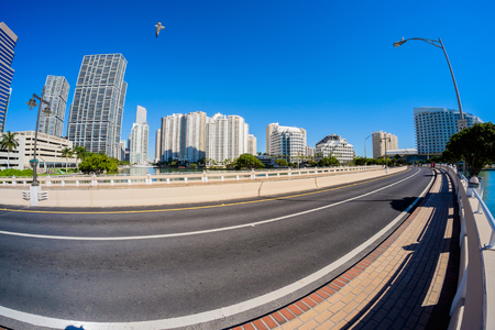 high rise: Fish eye view of the bridge road leading to Brickell Key in downtown Miami.