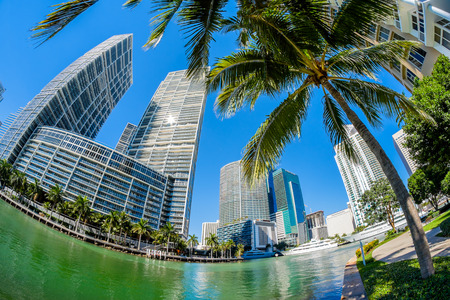 Fish eye view of the Brickell Key area in downtown Miami along Biscayne Bay. photo