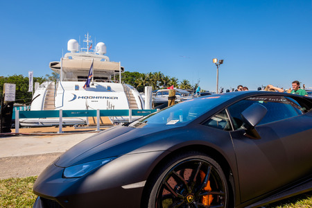 exotic car: Miami Beach, Fl USA - February 13, 2015: Exotic Lamborghini at the popular Miami International Boat Show featuring more than 3,000 boats and 2,000 exhibitors from all over the globe.