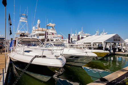 luxuries: Miami Beach, Fl USA - February 13, 2015: The popular Miami International Boat Show features more than 3,000 boats and 2,000 exhibitors from all over the globe.