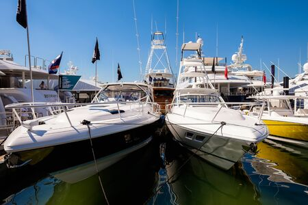 intrepid: Miami Beach, Fl USA - February 13, 2015: The popular Miami International Boat Show features more than 3,000 boats and 2,000 exhibitors from all over the globe.