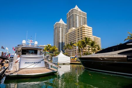 pershing: Miami Beach, Fl USA - February 13, 2015: The popular Miami International Boat Show features more than 3,000 boats and 2,000 exhibitors from all over the globe.