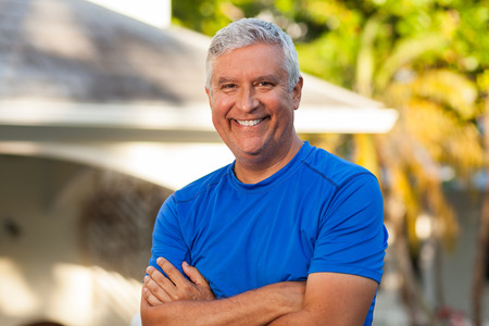 middle: Handsome middle age man outdoor portrait Stock Photo