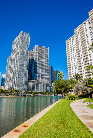 Cityscape view of the Brickell Key area in downtown Miami along Biscayne Bay. photo