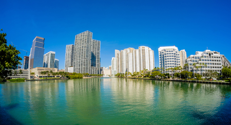 high rise: Fish eye view of the Brickell Key area in downtown Miami along Biscayne Bay.