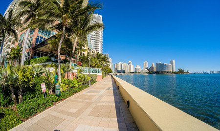 Fish eye view of the Brickell area in downtown Miami along Biscayne Bay.