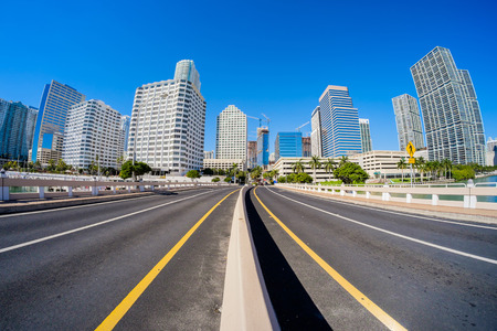 Fish eye view of the bridge road leading to Brickell Key in downtown Miami. photo