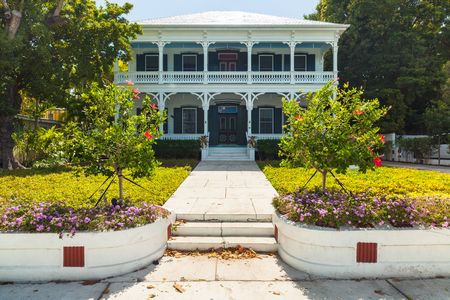 restored: Key West, Florida USA - March 2, 2015: A beautifully restored wood frame home in the historic district of Key West.