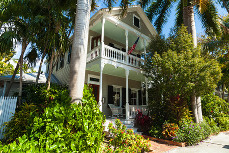 ��wood frame�: Key West, Florida USA - March 2, 2015: A beautifully restored wood frame home in the historic district of Key West.