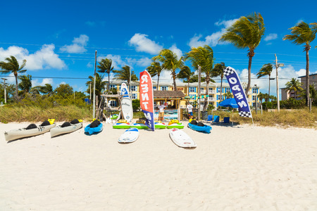 rentals: Key West, Florida USA - March 3, 2015: Beach sporting goods rentals available in Key West, Florida.