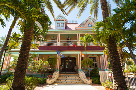 southernmost: Key West, Florida USA - March 3, 2015: The beautiful Victorian Southernmost House is a popular tourist destination in Key West, Florida. Editorial