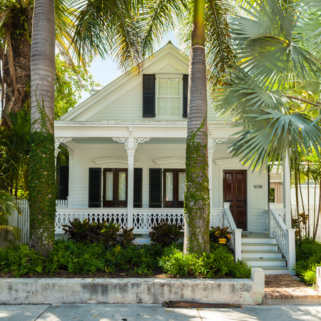 Key West, Florida USA - March 3, 2015: A beautifully restored wood frame home in the historic district of Key West.