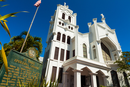 episcopal: Key West, Florida USA - March 3, 2015: The beautifully restored Saint Paul Episcopal Church located on Duval Street. Editorial