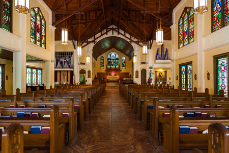 church buildings: Key West, Florida USA - March 3, 2015: The beautifully restored Saint Paul Episcopal Church located on Duval Street. Editorial