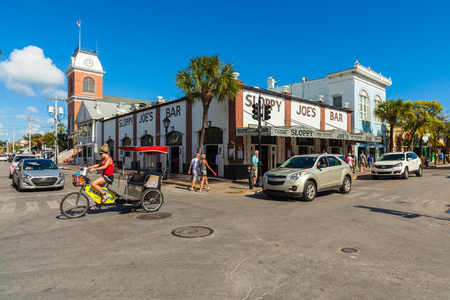Key West, Florida USA - March 3, 2015: The historic and popular Sloppy Joes Bar on Duval Street in downtown Key West.