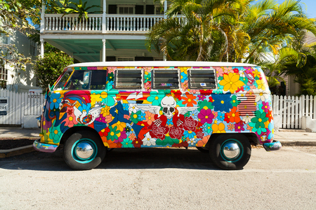 key: Key West, Florida USA - March 3, 2015: A classic Volkswagen Van parked in the historic district of Key West.