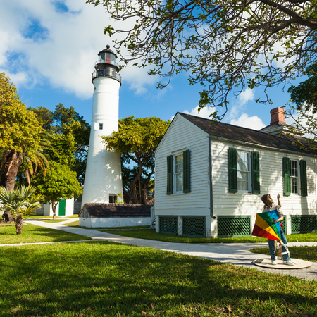 Key West, Florida USA - March 2, 2015: The historic Key West Lighthouse and Museum located on Whitehead Street.