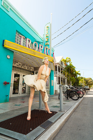 Key West, Florida USA - March 2, 2015: A statue of the classic Marilyn Monroe pose in front of the Tropic Cinema in Key West.