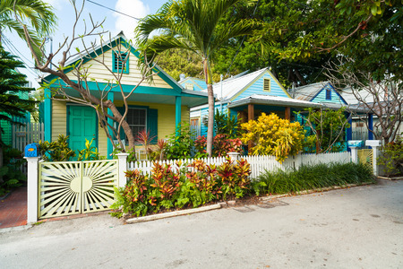 key: Key West, Florida USA - March 2, 2015: Beautifully restored vintage homes in the residential Historic District of Key West.