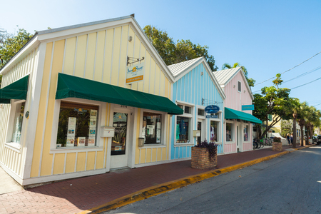 beauty shop: Key West, Florida USA - March 2, 2015: Typical retail shops located in the Bahama Village District of Key West.