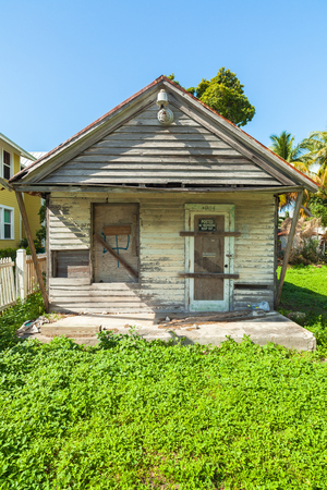 bahama: Key West, Florida USA - March 2, 2015: Typical unrestored wood frame architecture style home in the Bahama Village District of Key West. Editorial