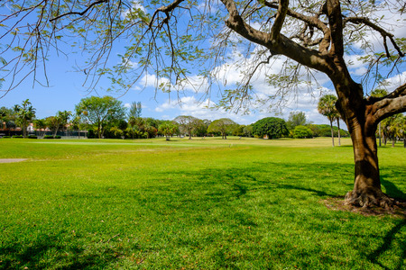 gables: Golf course landscape viewed from behind the putting green. Stock Photo