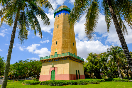 influenced: Coral Gables, FL USA - April 4, 2015: The beautifully restored Alhambra Water Tower in the Spanish style influenced neighborhood of Coral Gables in Miami.