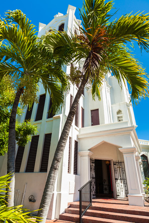 Key West, Florida USA - March 3, 2015: The beautifully restored Saint Paul Episcopal Church located on Duval Street. Editorial