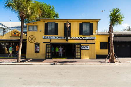 key: Key West, Florida USA - March 3, 2015: The historic Captain Tonys Saloon, the original site of Sloppy Joes, in downtown Key West.