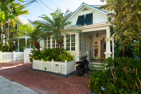 Key West, Florida USA - March 3, 2015: Typical wood frame architecture style home in the residential district of Key West. Editorial