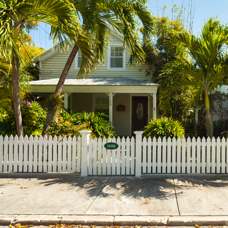 ��wood frame�: Key West, Florida USA - March 5, 2015: Typical wood frame architecture style home in the residential district of Key West.