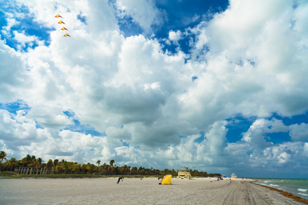 key biscayne: Key Biscayne, FL USA - May 27, 2015: Unindentified man flying kites on a cloudy windy day in Crandon Park Beach. Editorial