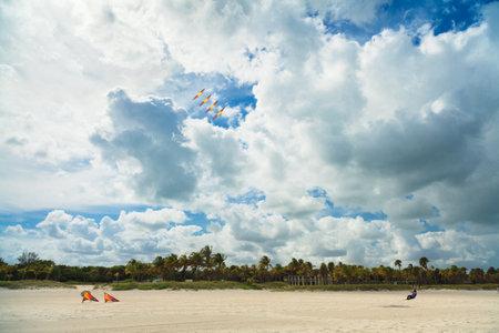 key biscane: Key Biscayne, FL EE.UU. - 27 de mayo 2015: hombre Unindentified cometas volando en un d�a ventoso nublado en Crandon Park Beach.