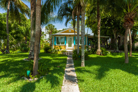 Everglades City, FL USA - May 20, 2015: Typical small wood frame style located in the rural community of Everglades City.